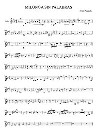 Piazzolla - Milonga Sin Palabras for violin - Instrument part - First page